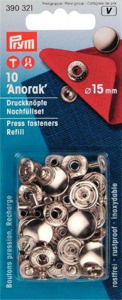 Nähfrei-Nachfüllpackung ohne Werkzeug 15 mm silberfarbig 10 St