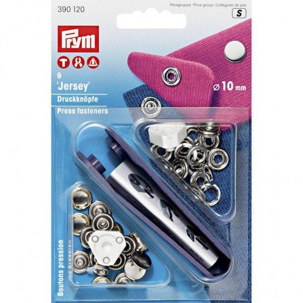 Nähfrei-Druckknöpfe mit Werkzeug Jersey 10 mm silberfarbig 9 St