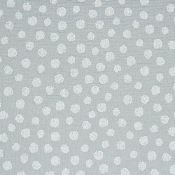 Double Gauze GOTS Dots - col. 002 grey