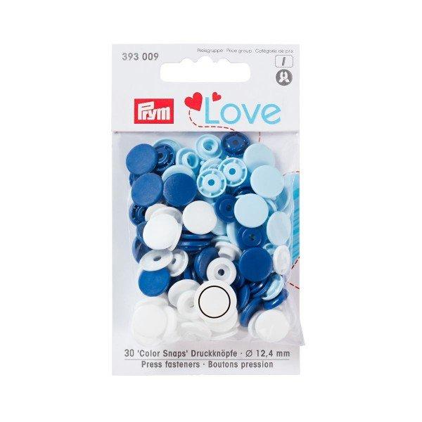 Nähfrei-Druckknöpfe Color Snaps Prym Love 12,4 mm blau/hellblau/weiß 30 St