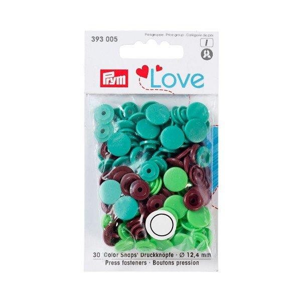 Nähfrei-Druckknöpfe Color Snaps Prym Love 12,4 mm braun/grün/hellgrün 30 St