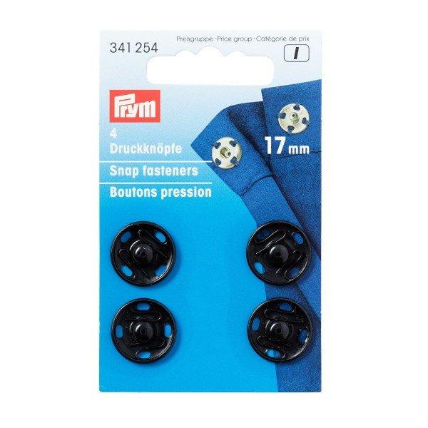 Annäh-Druckknöpfe 17 mm schwarz 4 St