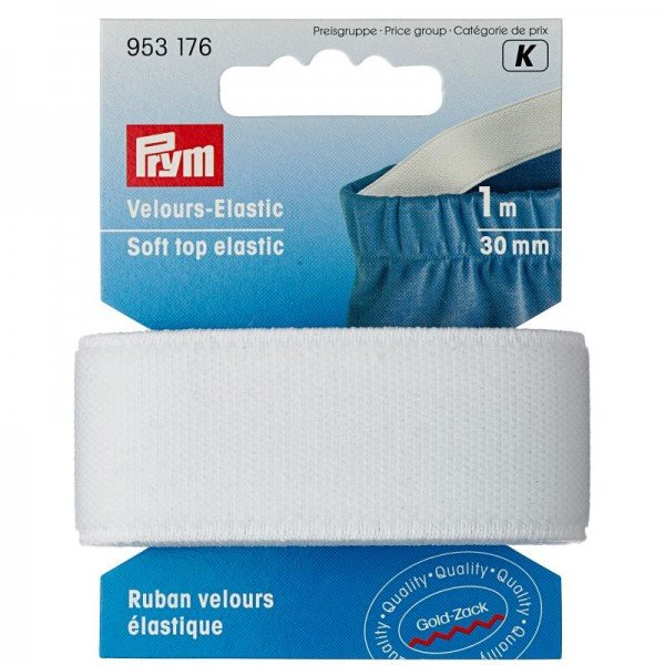 Velours Elastic-Band - 30 mm, weiss, 1 m