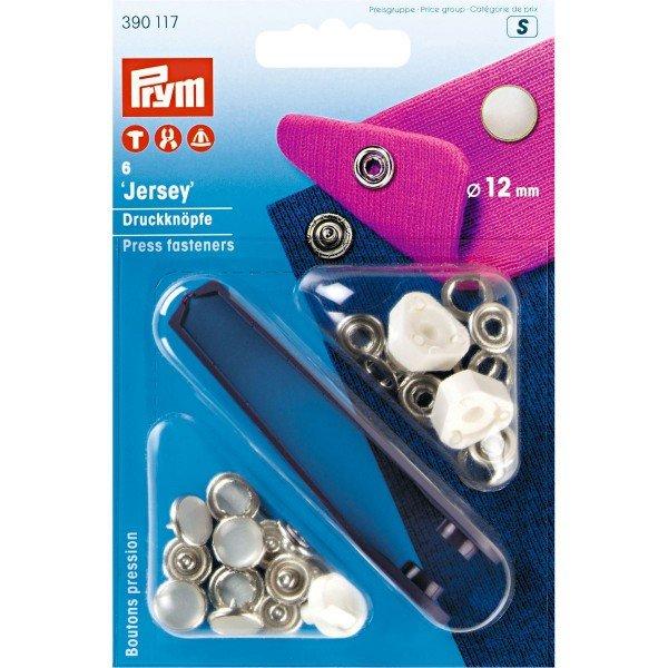 Nähfrei-Druckknöpfe mit Werkzeug Jersey 12 mm perlmuttfarbig 6 St