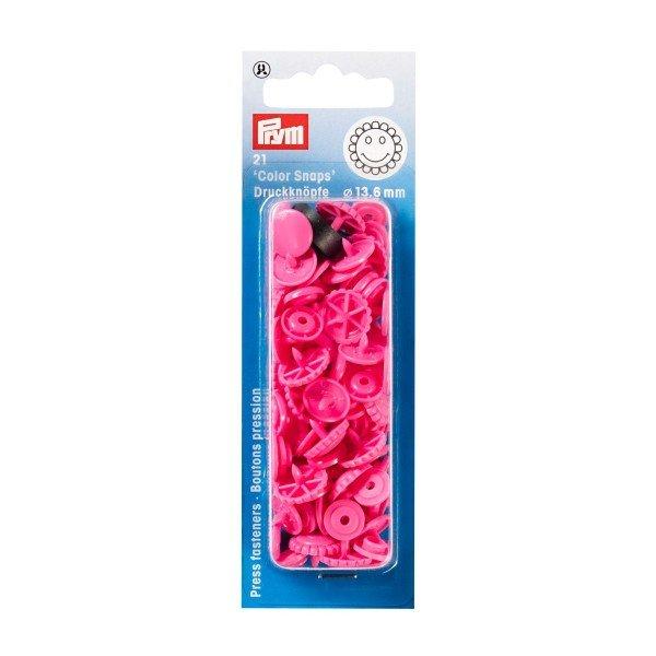 Nähfrei-Druckknöpfe Color Snaps Blume 13,6 mm pink 21 St