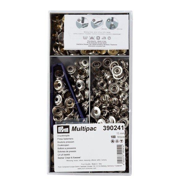 Nähfrei-Druckknöpfe mit Werkzeug 15 mm silberfarbig 100 St