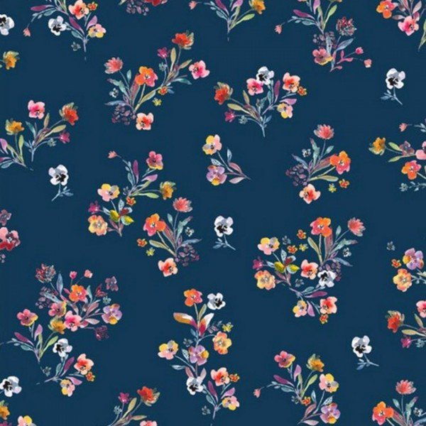 Jersey Scattered Flowers - col. 009 navy