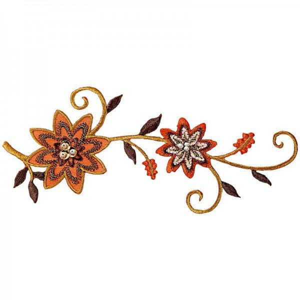 Applikation Fashion and Home - Blumenranke mit Perlen