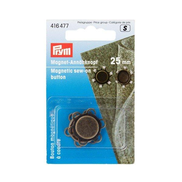 Magnet-Annähknöpfe 25 mm altmessing