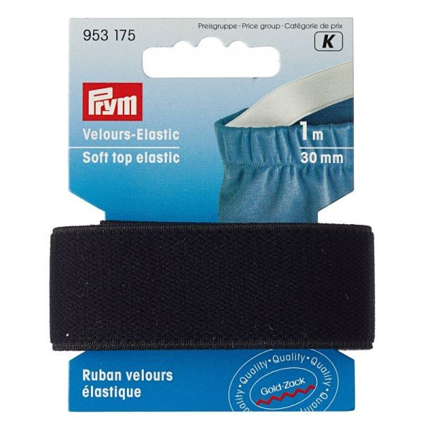 Velours Elastic-Band - 30 mm, schwarz, 1 m