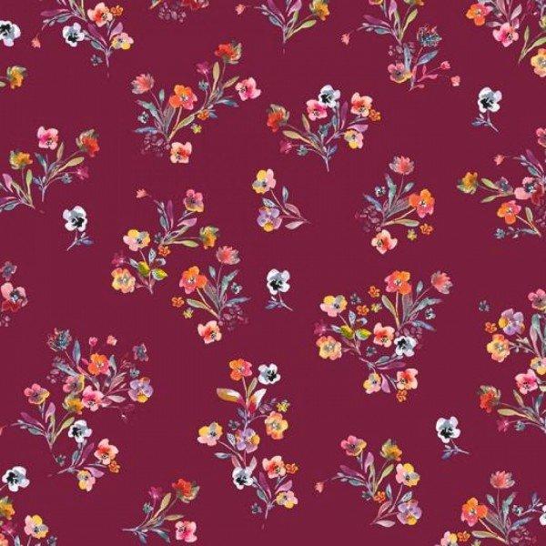 Popeline Scattered Flowers - col. 011 cerise