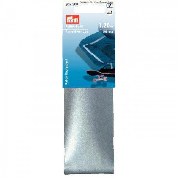 Reflexband zum Aufbügeln silber - 50 mm / 1,2 m
