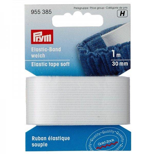 Elastic-Band weich - 30 mm weiss 1 m