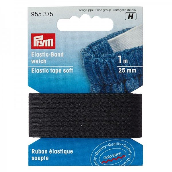 Elastic-Band weich - 25 mm schwarz 1m