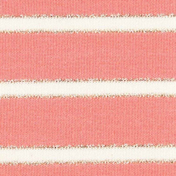 French Terry Design Lurex Stripes - col. 006 coral