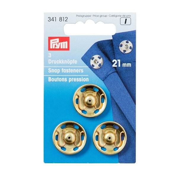 Annäh-Druckknöpfe 21 mm goldfarbig 3 St