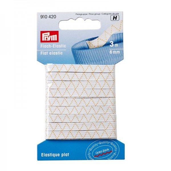 Flach-Elastic - 6 mm, weiß, 3 m