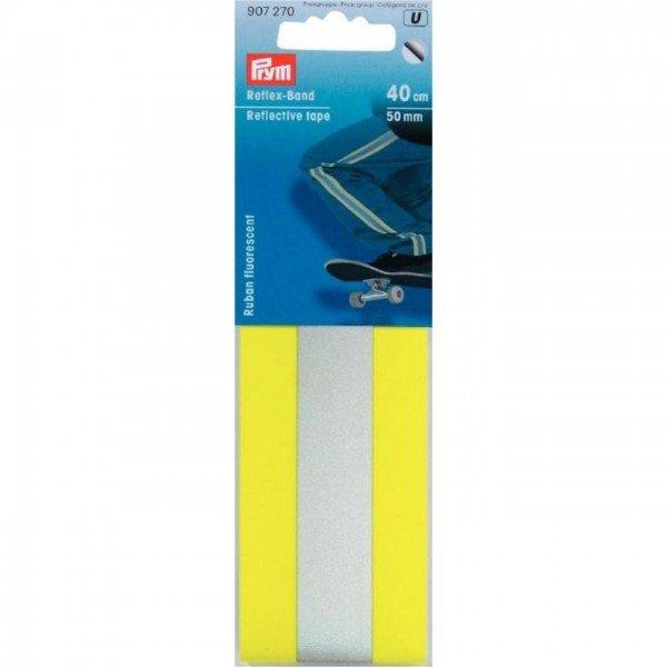 Reflexband zum Aufbügeln Neongelb/Silber - 50 mm / 0,4 m