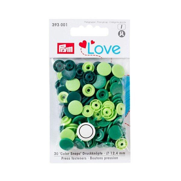 Nähfrei-Druckknöpfe Color Snaps Prym Love 12,4 mm grün sortiert 30 St