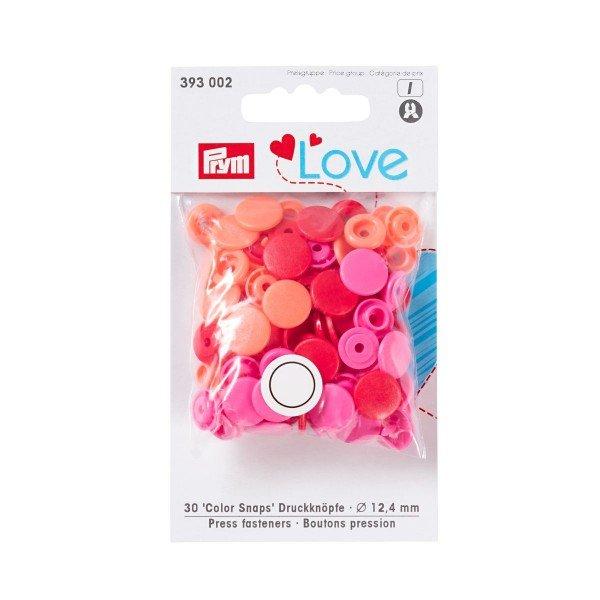 Nähfrei-Druckknöpfe Color Snaps Prym Love 12,4 mm rot sortiert 30 St