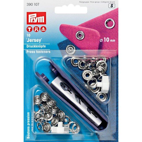 Nähfrei-Druckknöpfe mit Werkzeug Jersey 10 mm silberfarbig 10 St