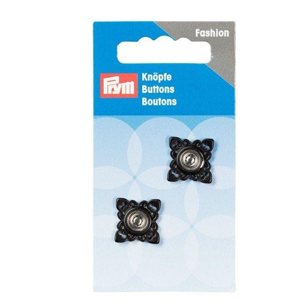 Annäh-Druckknöpfe quadratisch 21 mm schwarz 2 St