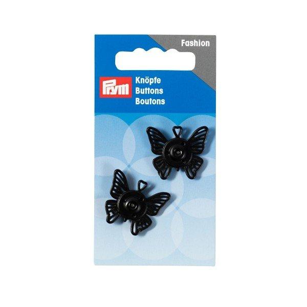 Annäh-Druckknöpfe Schmetterling 25 mm schwarz 2 St