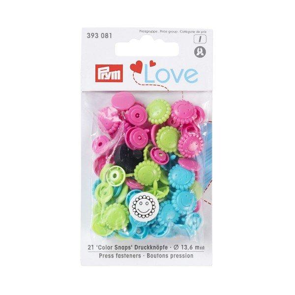 Nähfrei-Druckknöpfe Color Snaps Prym Love Blume 13,6 mm grün/pink/türkis 21 St