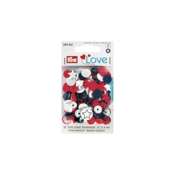 Nähfrei-Druckknöpfe Color Snaps Prym Love Stern 12,4 mm marine/rot/weiß 30 St