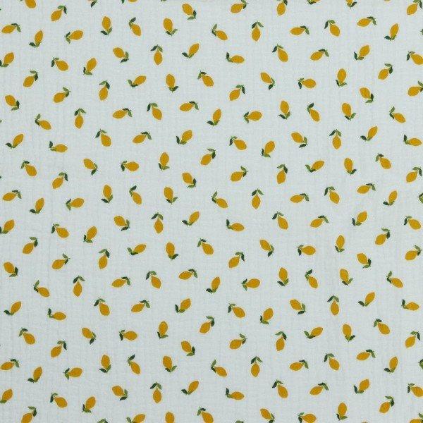Double Gauze GOTS Lemons - col. 001 white