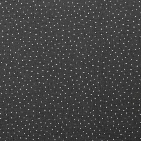 Double Gauze Design Little Dots - col. 022 dunkelgrau