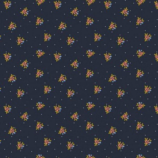 Popeline Flowers - col. 009 navy