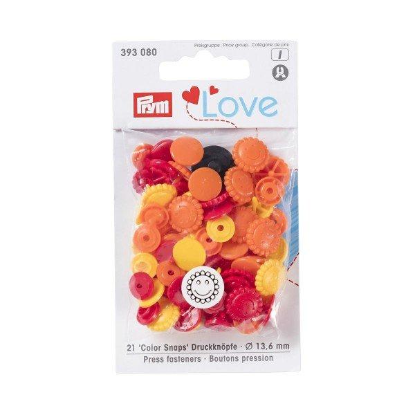 Nähfrei-Druckknöpfe Color Snaps Prym Love Blume 13,6 mm gelb/gold/rot 21 St