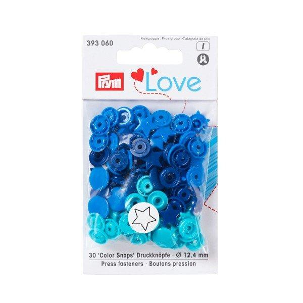 Nähfrei-Druckknöpfe Color Snaps Prym Love Stern 12,4 mm blau/tinte/türkis 30 St