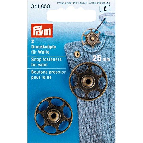 Annäh-Druckknöpfe für Wolle 25 mm altmessing 2 St