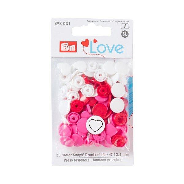 Nähfrei-Druckknöpfe Color Snaps Prym Love Herz 12,4 mm pink/rot/weiß 30 St