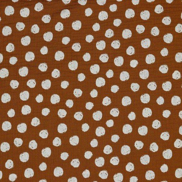 Double Gauze GOTS Dots - col. 014 brique