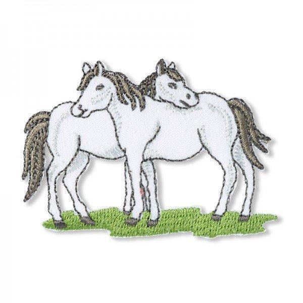 Applikation Tiermotive - Pferde weiss