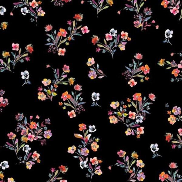 Jersey Scattered Flowers - col. 001 schwarz