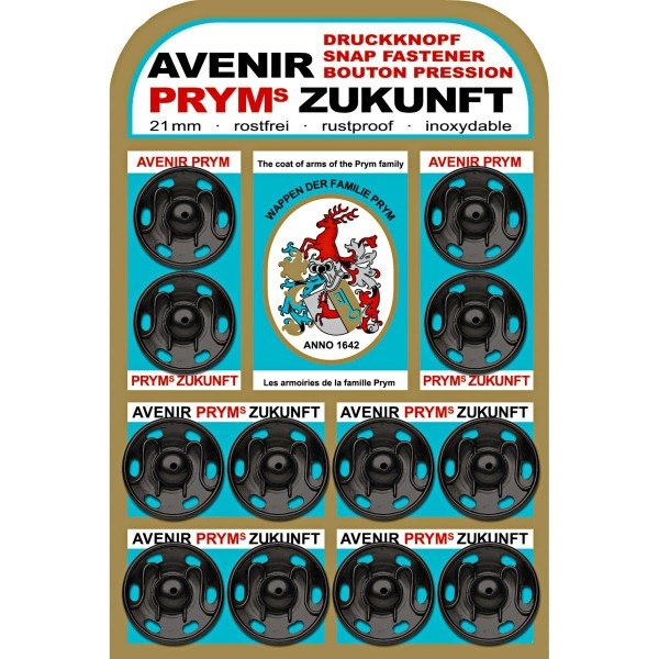 Annäh-Druckknöpfe 21 mm schwarz 12 St