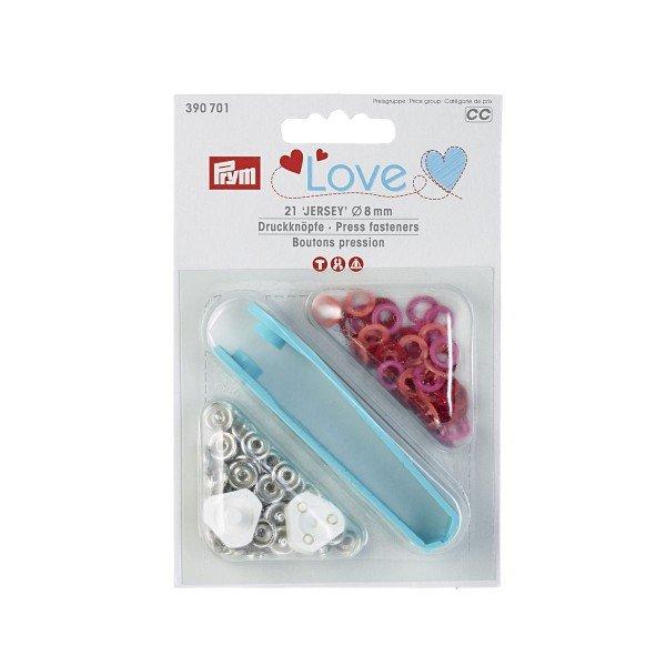 Nähfrei-Druckknöpfe mit Werkzeug Prym Love Jersey 8 mm rot 21 St