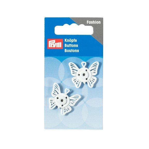 Annäh-Druckknöpfe Schmetterling 25 mm weiß 2 St