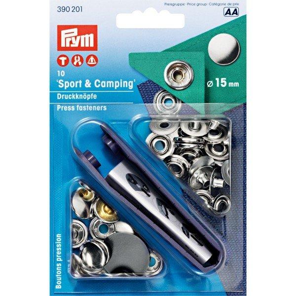 Nähfrei-Druckknöpfe mit Werkzeug 15 mm silberfarbig 10 St