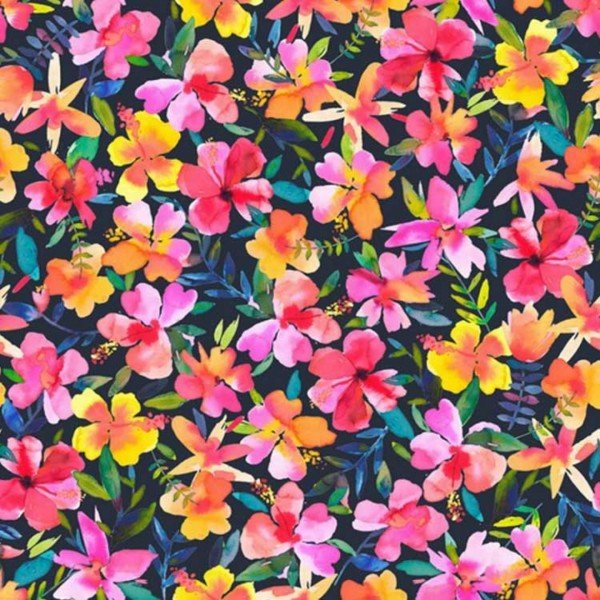 French Terry Love Hibiscus - col. 004 navy