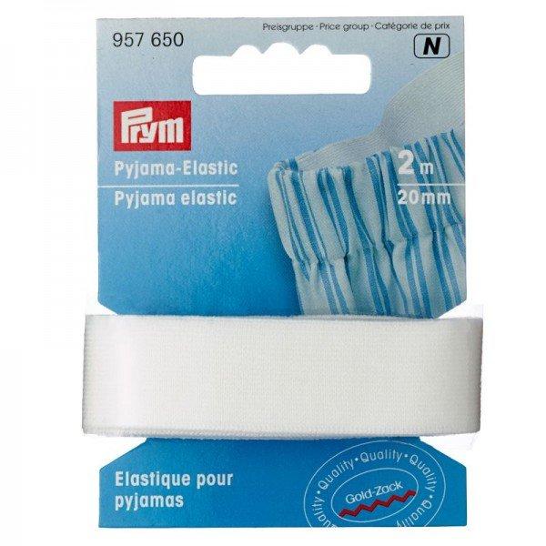 Pyjama-Elastic - 20 mm, weiß, 2 m