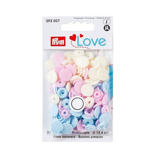 Nähfrei-Druckknöpfe Color Snaps Prym Love 12,4 mm hellblau/perle/rosa 30 St