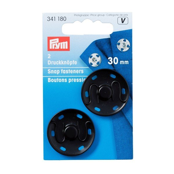 Annäh-Druckknöpfe 30 mm schwarz 2 St