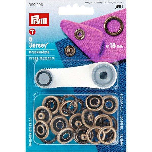 Nähfrei-Druckknöpfe mit Werkzeug Jersey 18 mm altmessing 6 St