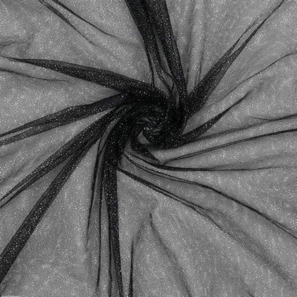 Tüll Sparkle - col. 001 black/silver