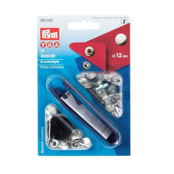 Nähfrei-Druckknöpfe mit Werkzeug 12 mm silberfarbig 10 St